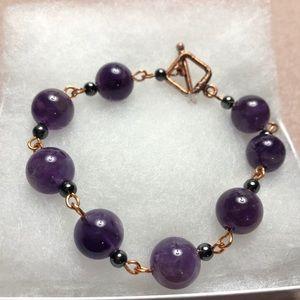 Copper Amethyst Toggle Bracelet